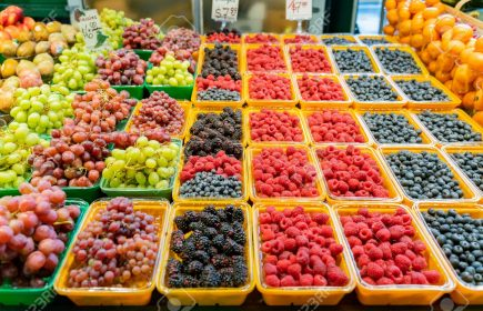 Close up shot of fresh fruits in Atwater Market at Montreal, Canada